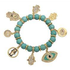 DesertRose///Swarovski Studded Hamsa Hand & Evil Eye Bracelet - Turquoise