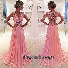 2016 beautiful v-neck pink lace chiffon long prom dress,ball gown, modest prom dress