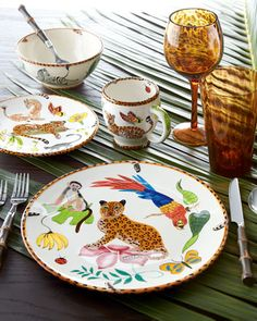 "At your vacation retreat ""Jungle Jubilee"" Dinnerware Service by Lynn Chase Designs at Horchow."