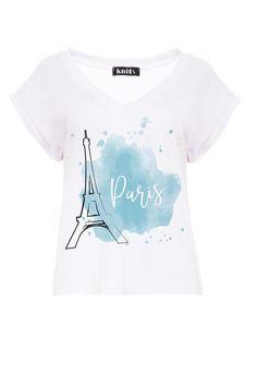 Paris Print T-Shirt In White Short Sleeve knitis European Fashion, Timeless Fashion, Online Shopping Clothes, White Shorts, Blouses, Paris, Clothes For Women, Knitting, Sleeve