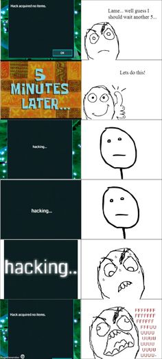 Rage comic expressing what #ingress players go through when hacking a portal - LOL!
