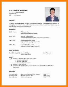 Applicant Resume Sample Objectives