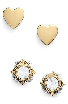 north court heart & square stud earrings