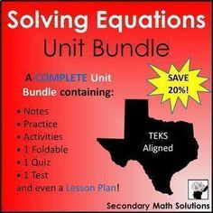 This is a unit bundle of Solving Equations resources including lots of activities, coloring worksheets, a foldable, and a free mid-unit quiz. This unit reviews all solving equations concepts but focuses heavily on solving literal equations and equations with variables on both sides (TEKS: A12E &...