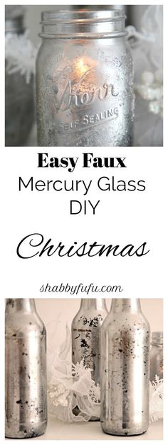 Faux Mercury Glass Mason Jar Tutorial