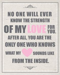 "NURSERY ART- ""Strength of My Love""  8 x 10, Print- Childrens Decor, wall art. $16.00, via Etsy."