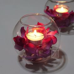 Floating Candle Centerpieces, Hanging Candles, Votive Candles, Wedding Centerpieces, Wedding Decorations, Fishbowl Centerpiece, Candle Sticks, Romantic Room Decoration, Decoration Table