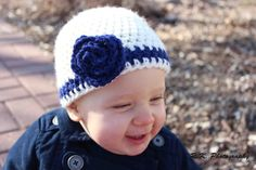 Flowered Baby Crochet Hat Photography Prop crochet hat by echats, $14.00