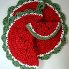 Crochet Watermelon Pot Holder Dishcloth Magnet by MagnoliaSurprise ༺✿ƬⱤღ http://www.pinterest.com/teretegui/✿༻