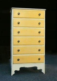 Vintage Dresser Hand Refinished in Sunset Orange, Yellow & Vintage White Chalk Paint