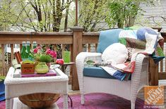 Whitney of The Curtis Casa shares some terrific and very practical deck decorating ideas. We love the way her deck feels like a treehouse, and the bright colors she chose for her space have such a fun energy!