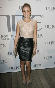 Kristin Cavallari. Black leather pencil skirt.