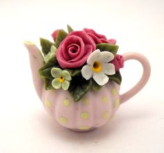 1/12TH scale   flowers and dots  teapot dark-pale pink by by 64tnt