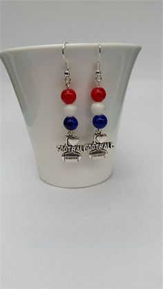 Football Earrings Football Jewellery Colours Red White  & Blue like The Bulldogs