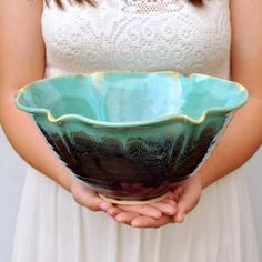 Turquoise pottery bowl - wheel thrown pottery bowl 8 cup flower shape Farmhouse Morning glaze