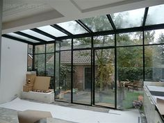 VCDesign likes for small north facing pop out extension But get rid of that outbuilding! Steel Windows, Windows And Doors, Interior Architecture, Interior And Exterior, Moderne Pools, Marquise, House Extensions, Glass House, Future House