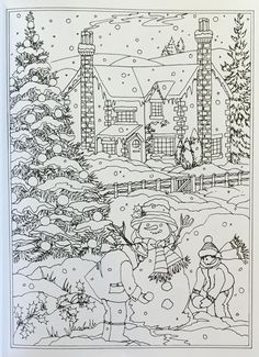 Adult Coloring Pages Winter - Adult Coloring Pages Winter, Coloring Pages Winter Wonderland Coloring Pages Red Crayon Coloring Pages Winter, Christmas Coloring Pages, Coloring Book Pages, Printable Coloring Pages, Colouring Sheets For Adults, Coloring Sheets, Christmas Colors, Christmas Art, Winter Scenes