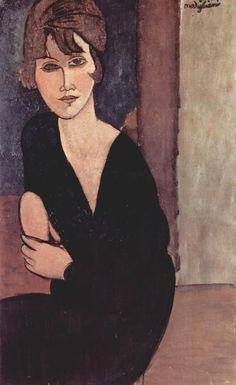 'Porträt von Madame Reynouard', öl auf leinwand von Amedeo Modigliani (1884-1920, Italy)                                                                                                                                                                                 Mehr