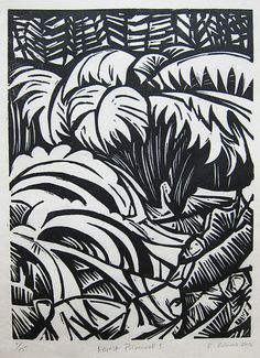 """Linocut relief print """"The Forest Primeval I,"""" by Cassandra Beth on @Etsy"""