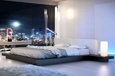Modern King Bed in Wenge with White Leather Headboard