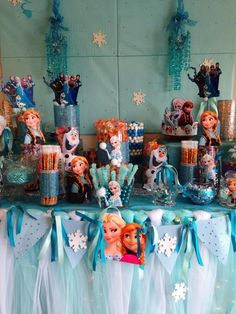 Amazing dessert table at a Frozen Birthday Party!  See more party ideas at CatchMyParty.com!  #partyideas #frozen