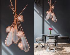 Harlow Dried Flowers Chandelier MidCentury Modern, Glass, Metal, Chandelier by Gabriel Scott
