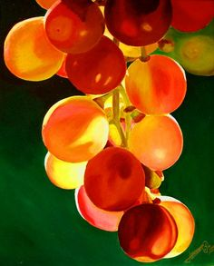 luscious grapes: red, orange, yellow