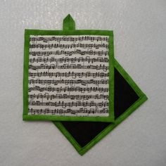 Music Note Pot Holder, Music Note Hot Pad, Music Note Mug Rug, Music Teacher Gift by QueenBeeStitcheryTX on Etsy
