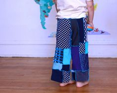 Upcycled Recycled  Blue Pants Patchwork Gaucho by MyLittleAura