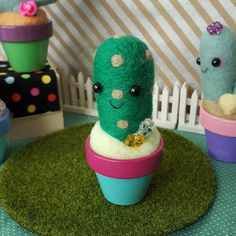 Needle Felted Cactus in a blue and pink pot by aluminumbunny