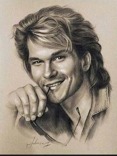 Pencil Portrait Celebrity Pencil Portraits - Patrick Swayze - Armed with graphite and beige paper, pencil-wielding Polish artist Krzysztof Lukasiewicz portrays famous faces. Here's a step-by-step of his drawing of George Clooney, from initial sketch to … Portrait Sketches, Pencil Portrait, Drawing Sketches, Art Drawings, Horse Drawings, Drawing Ideas, Man Portrait, Patrick Swayze, Celebrity Caricatures