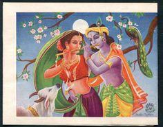 India vintage Hindu God Radha & Krishna stationery 2