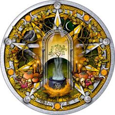 Silver and gold pentacle celebrating the pagan moon sabbat of Samhain featuring… Wiccan Spells, Magick, Witchcraft, Pentacle, Blessed Samhain, Samhain Halloween, Halloween Art, Pagan Art, Asian Design