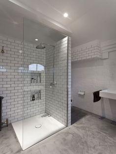 Stained Concrete Bathroom Floor Concrete Shower Cement Shower Floor Cement Shower Floor Sealer Concrete Shower Floors Stained Concrete Shower Floor Home Cement Bathroom, Concrete Shower, Loft Bathroom, Ensuite Bathrooms, Family Bathroom, Bathroom Renos, Bathroom Layout, Bathroom Flooring, Small Bathroom