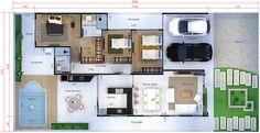 Projeto de casa térrea com 3 quartos. Planta para terreno 12x25
