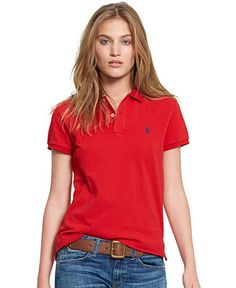 Polo Ralph Lauren Short-Sleeve Polo Shirt - Tops - Women - Macy s Red Polo e9eea8bb2947