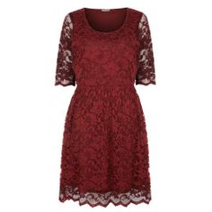 This Claret Lace Skater Dress from Pink Cove is sophisticated and flattering. The deeper red is perfect for a special evening out on V-day!