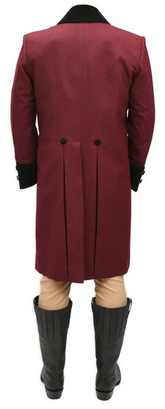 Burgundy Regency Coat designed in the cut-away style found in early 19th century fashion, is ideal with Fall Front Trousers for a true period look.