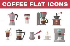 Check out Coffee Flat Icons by serkorkin on Creative Market