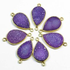 18K Gold Vermial Druzy Pendent 7 Pcs 925 Sterling by GEMSICON