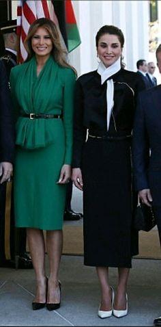 Melania Trump in Oscar de la Renta and Queen Rania of Jordan, April 5, 2017