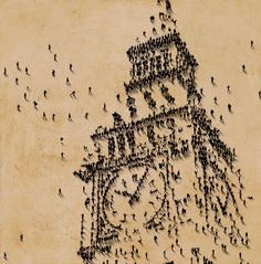 """Big Ben, Birds Eye Portrait"" by Craig Alan - The tiny people who made up the portraits were actually painted! Banksy, Marilyn Monroe Dibujo, Illustrations, Illustration Art, Exotic Art, Pointillism, Human Art, Art Graphique, Land Art"