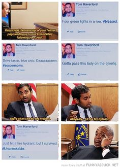 funny-tom-haverford-parks-rec-tv-scene-crashe-fire-hydrant-twitter-pics.png (550×773)