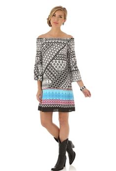 Wrangler Ladies Rock 47 Black, Coral, and Blue Dress LJD593M