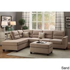 Poundex Marsala 3-piece Sectional with Ottoman Upholstered in Poly Fiber
