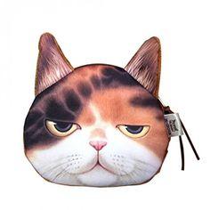 Flauschiger Kindergeldbeutel / Kinderportemonnaie mit süßem Katzenmotiv inkl. Katzenohren (Reissverschluss) (Braun): Amazon.de: Koffer, Rucksäcke & Taschen