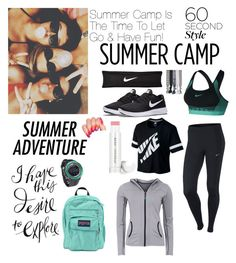 """""""Summer Camp"""" by elaabad on Polyvore featuring NIKE, Popband, JanSport, Pyle, Green Lamb, Jane Iredale, summercamp and 60secondstyle"""