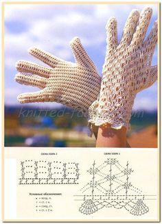 перчатки белые крючком,белые ажурные перчатки крючком,вязание крючком схемы,крючком модели и описания,