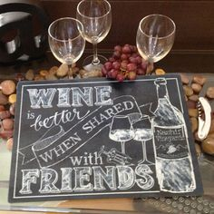 Wine is Better When Shared With Friends 11 x 15 Personalized Glass Cutting Board - trendy chalk look, #wine quote, personalized wine bottle label = great for you or for giving!  Art © Tara Reed Designs