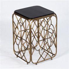 Metal Side Table, Gold and Black Wood #sidetabledesign modern design #blackandgold modern living room #thelivingroom luxury design. Find more at www.coffeeandsidetables.com